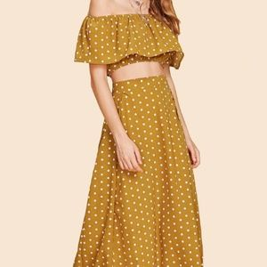 Two Piece Lulu's style polka dot crop and midi ski